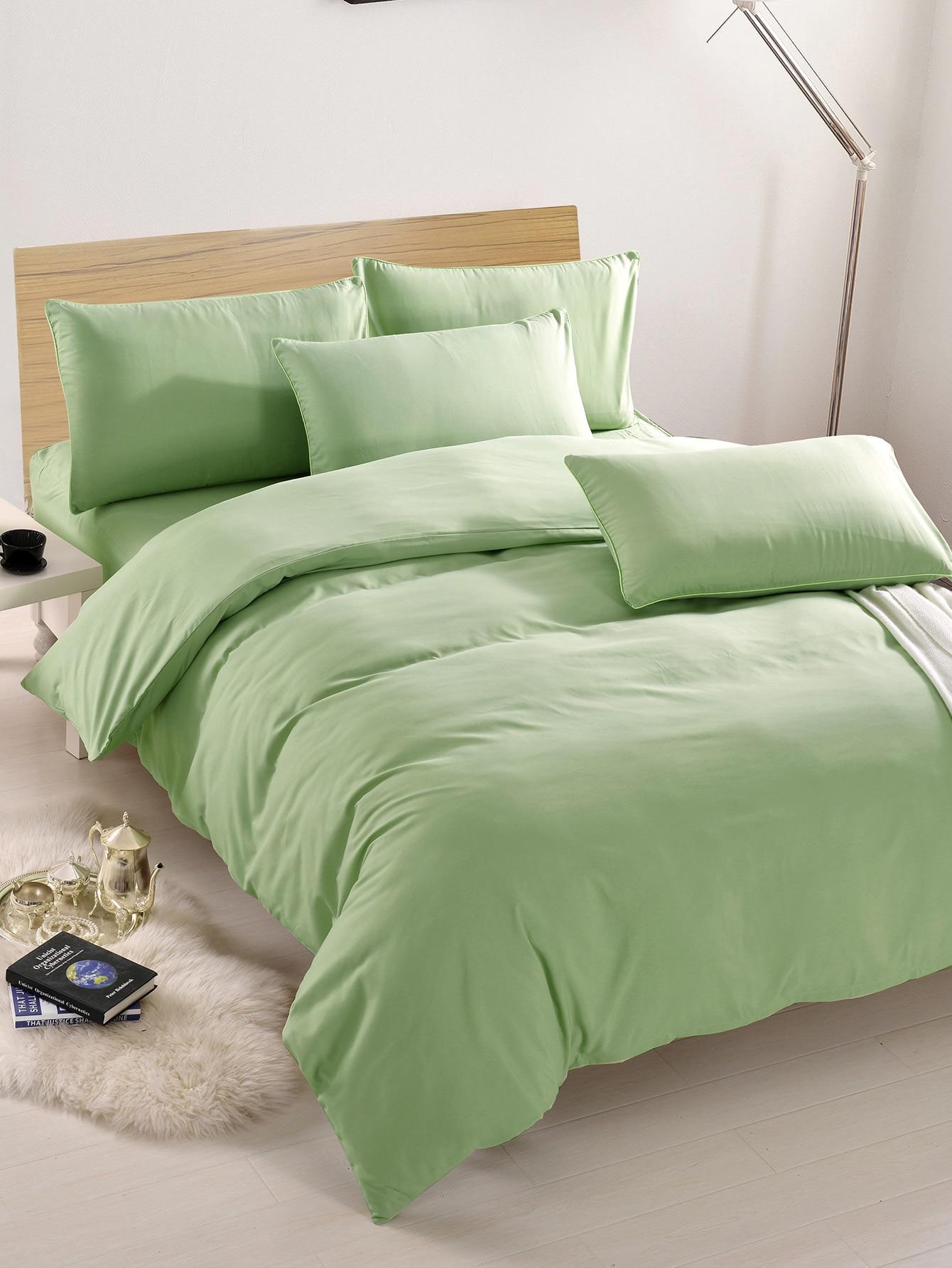 2.2m 4Pcs Simple Solid Colour Bed Sheet Set