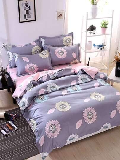 1.8m 4Pcs Flower Print Duvet Cover Set