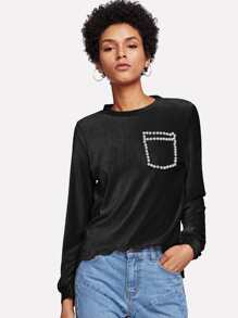 Pearl Beading Scalloped High Low T-shirt