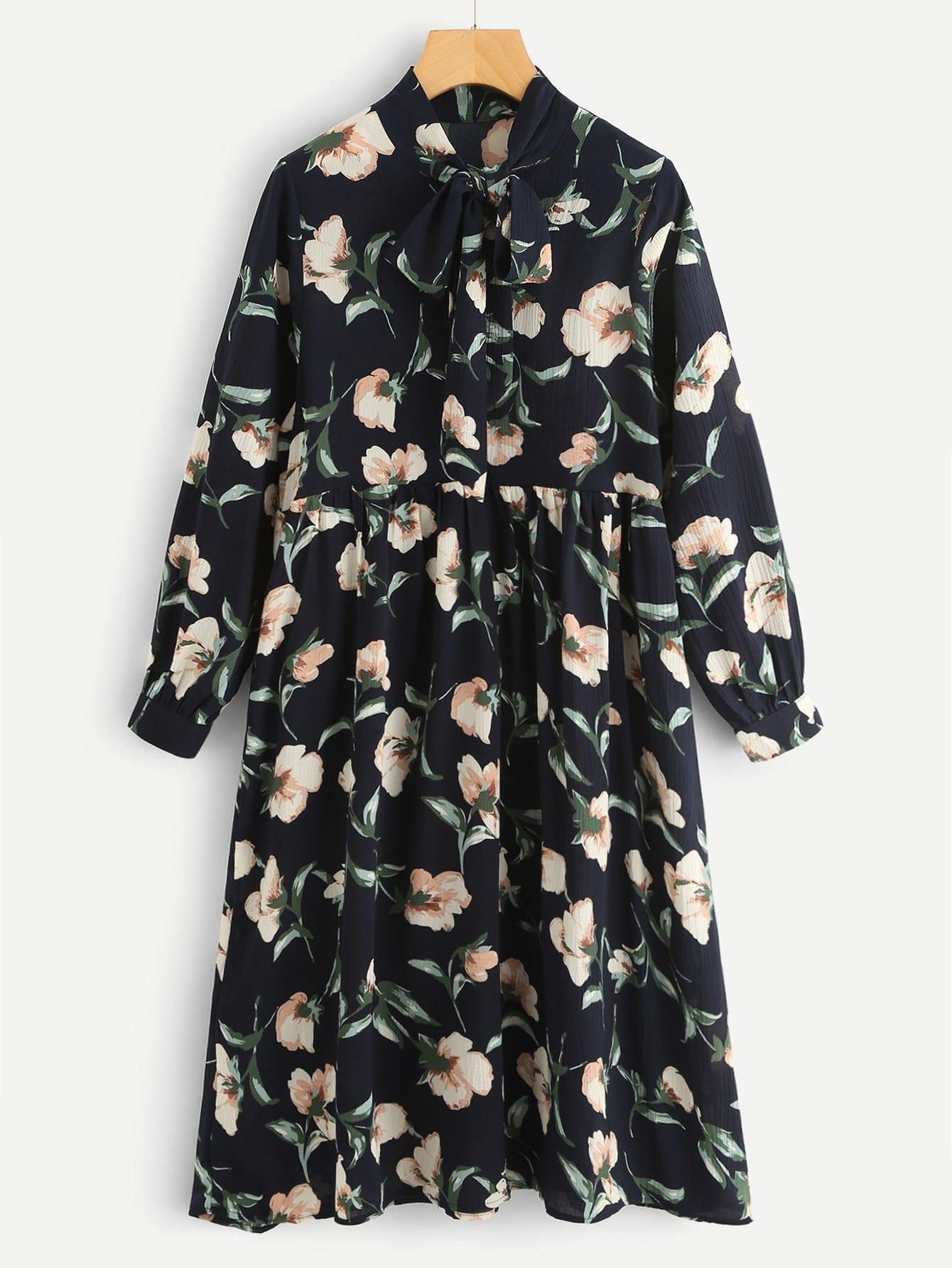 цена на All Over Botanical Print Bow Tie Neck Dress