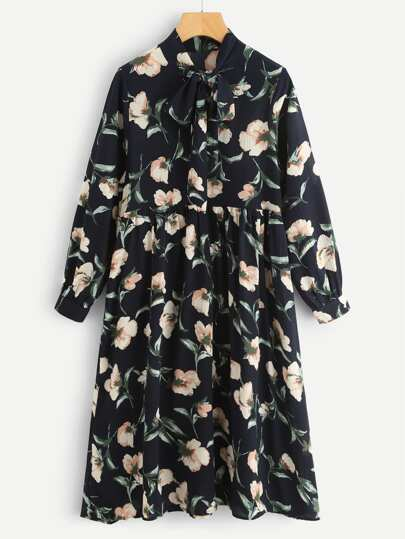 All Over Botanical Print Bow Tie Neck Dress