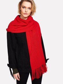 Fringe Trim Ladder Cut Out Detail Scarf