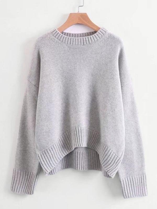 Rib Trim Oversized Sweater