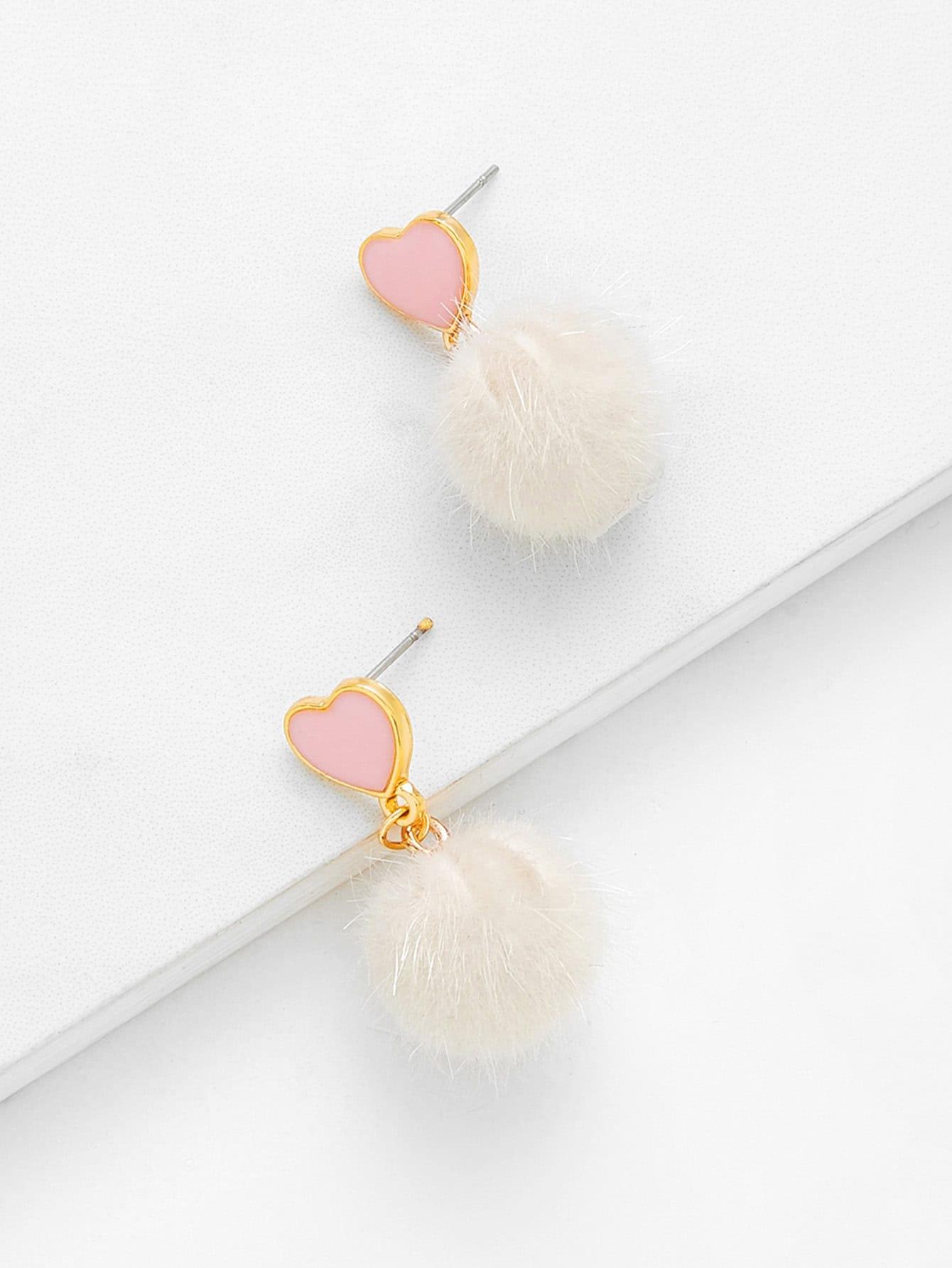 Heart Top Pom Pom Design Drop Earrings pom pom drop earrings
