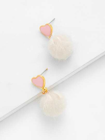 Heart Top Pom Pom Design Drop Earrings