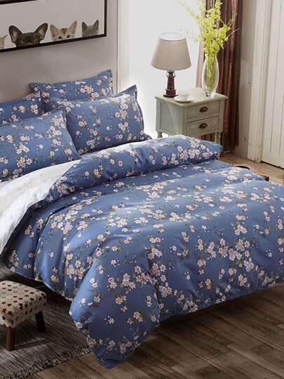 2.2m 4Pcs Flower Print Duvet Cover Set
