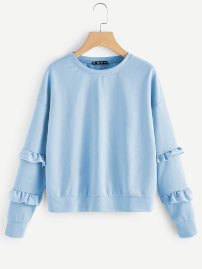 Drop Shoulder Ruffle Sleeve Sweatshirt