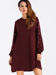 Pearl Beaded Raglan Sweatshirt Dress