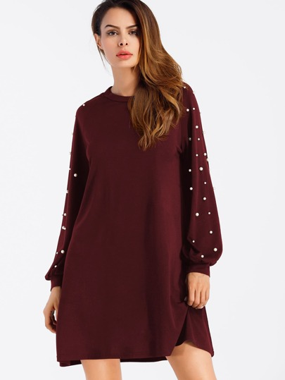 Pearl Beaded Raglan Sweatshirt Dress