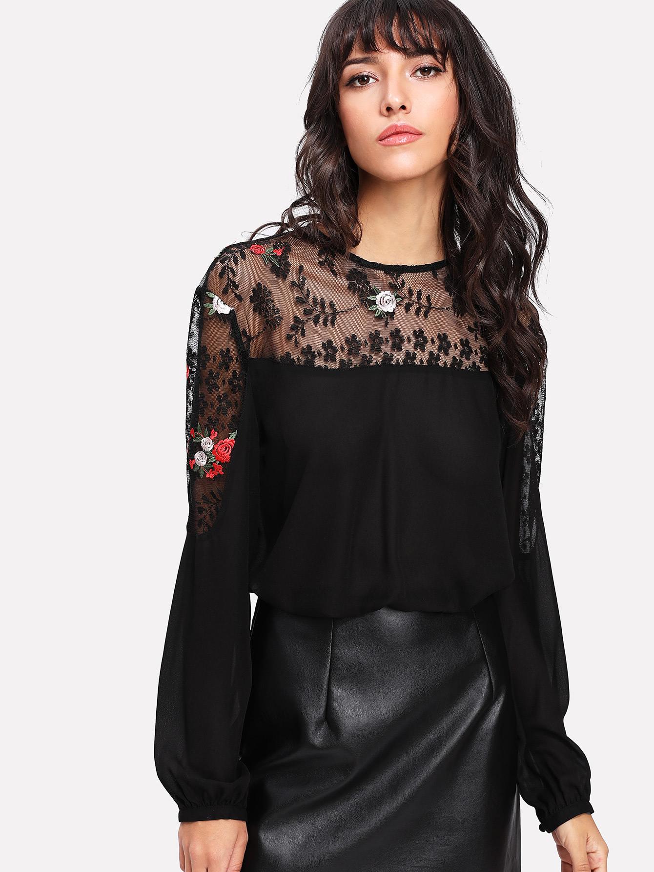 Embroidered Lace Yoke Keyhole Back Top lace yoke buttoned back top