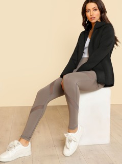 Cross Mesh Panel Leggings MOCHA