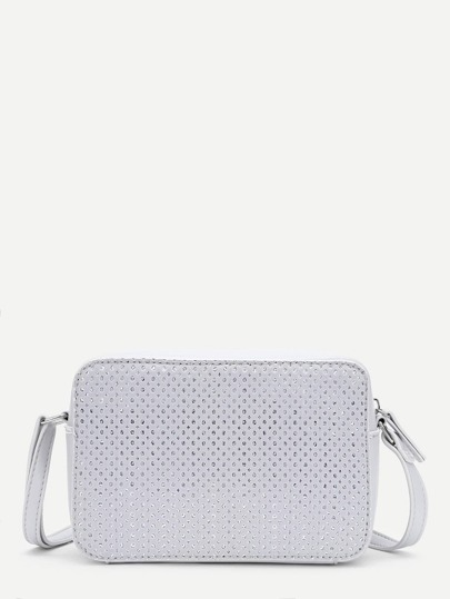 Zipper Detail PU Crossbody Bag
