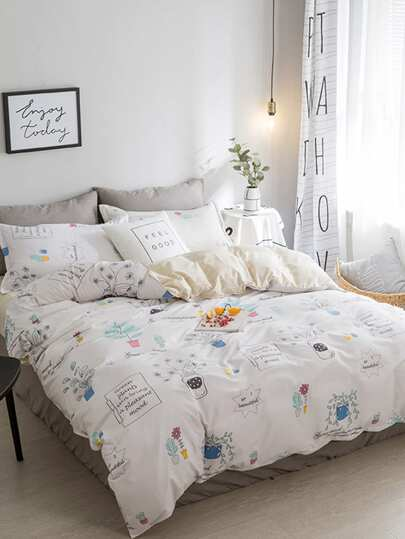 2.2m 4Pcs Cartoon Print Duvet Cover Set