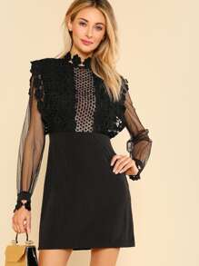 Guipure Lace Applique Mesh Bodice Dress