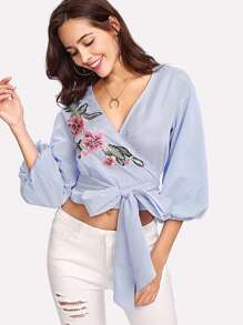 Lantern Sleeve Embroidered Applique Pinstriped Wrap Top