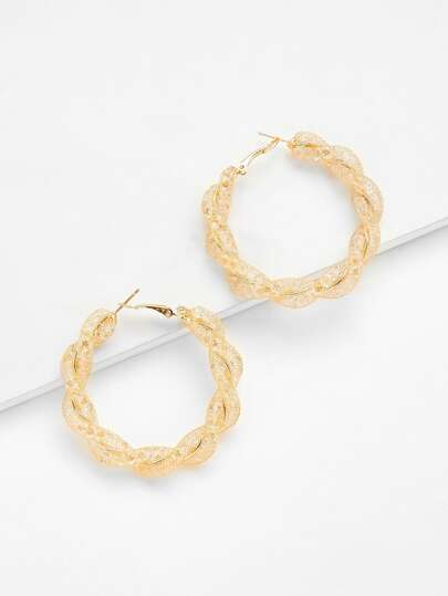 Twist Design Hoop Earrings