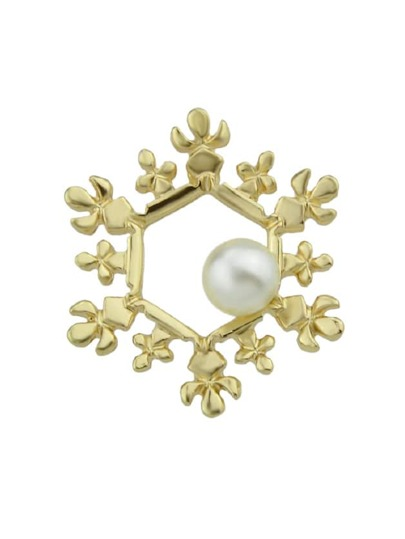 Snowflake Brooches Pin With Simulated-Pearl Women Accessories