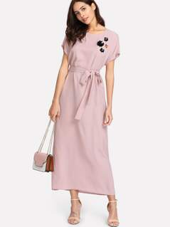 Flower Applique Dolman Sleeve Dress
