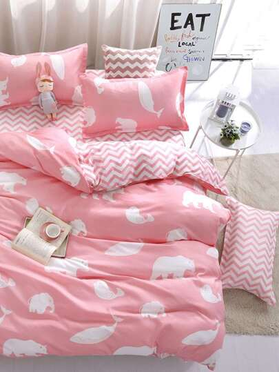 2.2m 4Pcs Animal Print Chevron Bedding Set