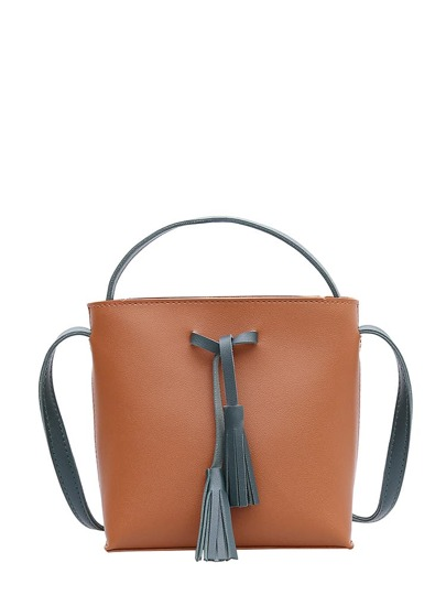 Contrast Tassel PU Shoulder Bag