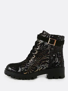 Lace and Sequin Military Boots BLACK
