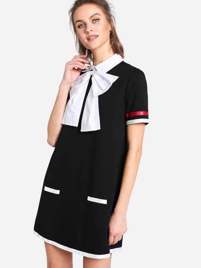 Exaggerate Bow Tie Neck Contrast Tape Dress