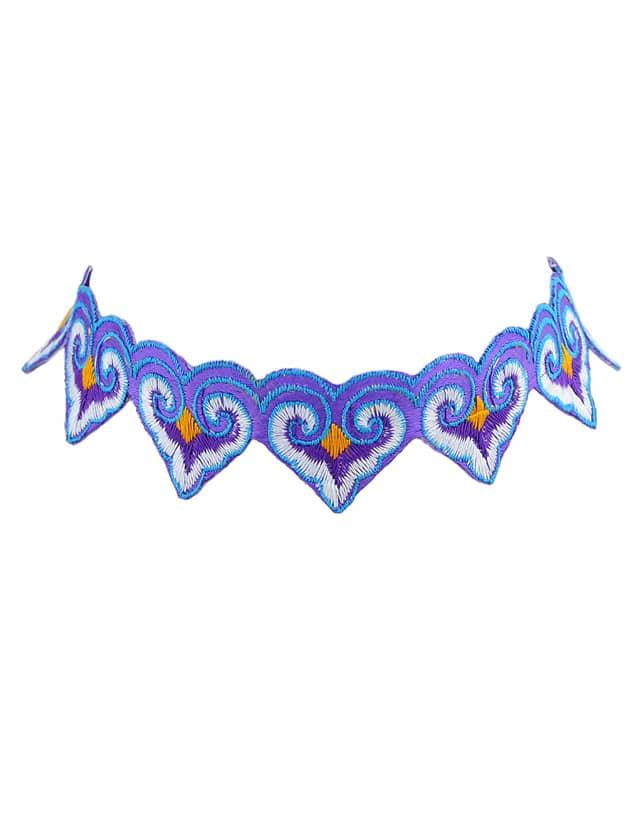 Purple Ethnic Jewelry Tattoos Choker Necklace Handmade
