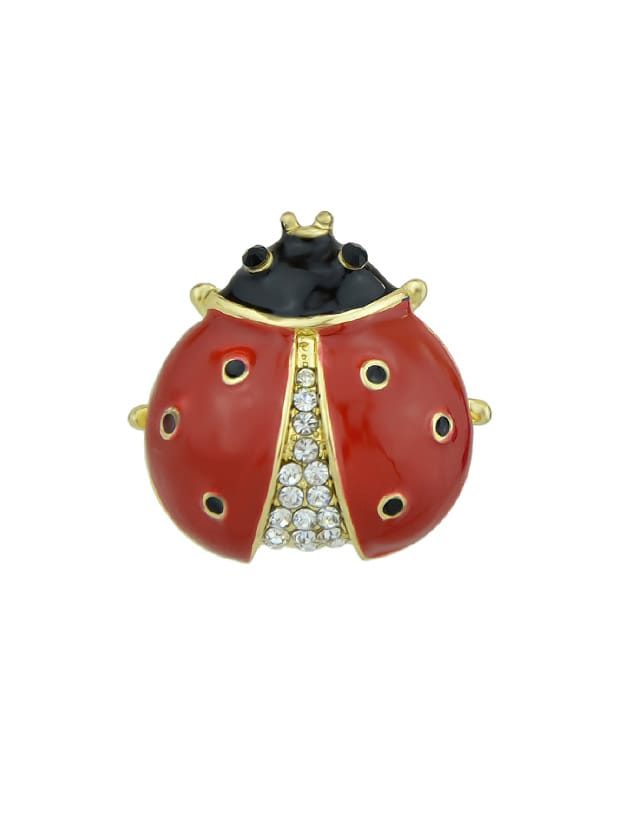 Red Enamel With Rhinestone Insect Ladybug Brooches Fashion Jewelry