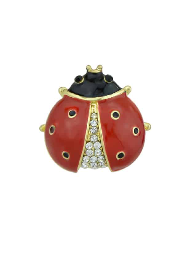 Red Enamel With Rhinestone Insect Ladybug Brooches Fashion Jewelry enamel sector pattern brooches with red tassel