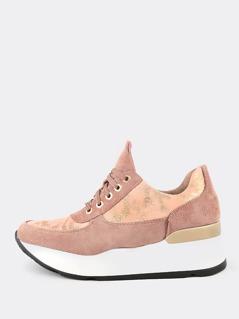 Glitter Accent Platform Sneakers MAUVE
