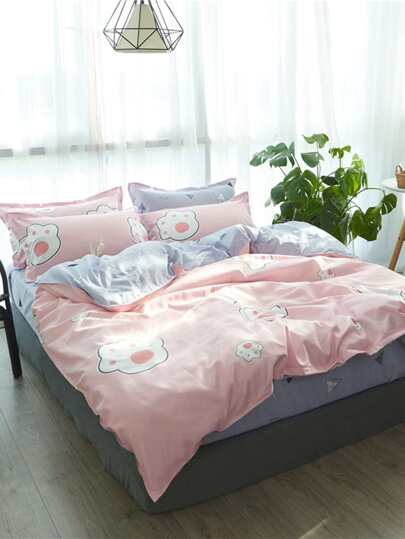 2.2m 4Pcs Paw Print Bed Sheet Set