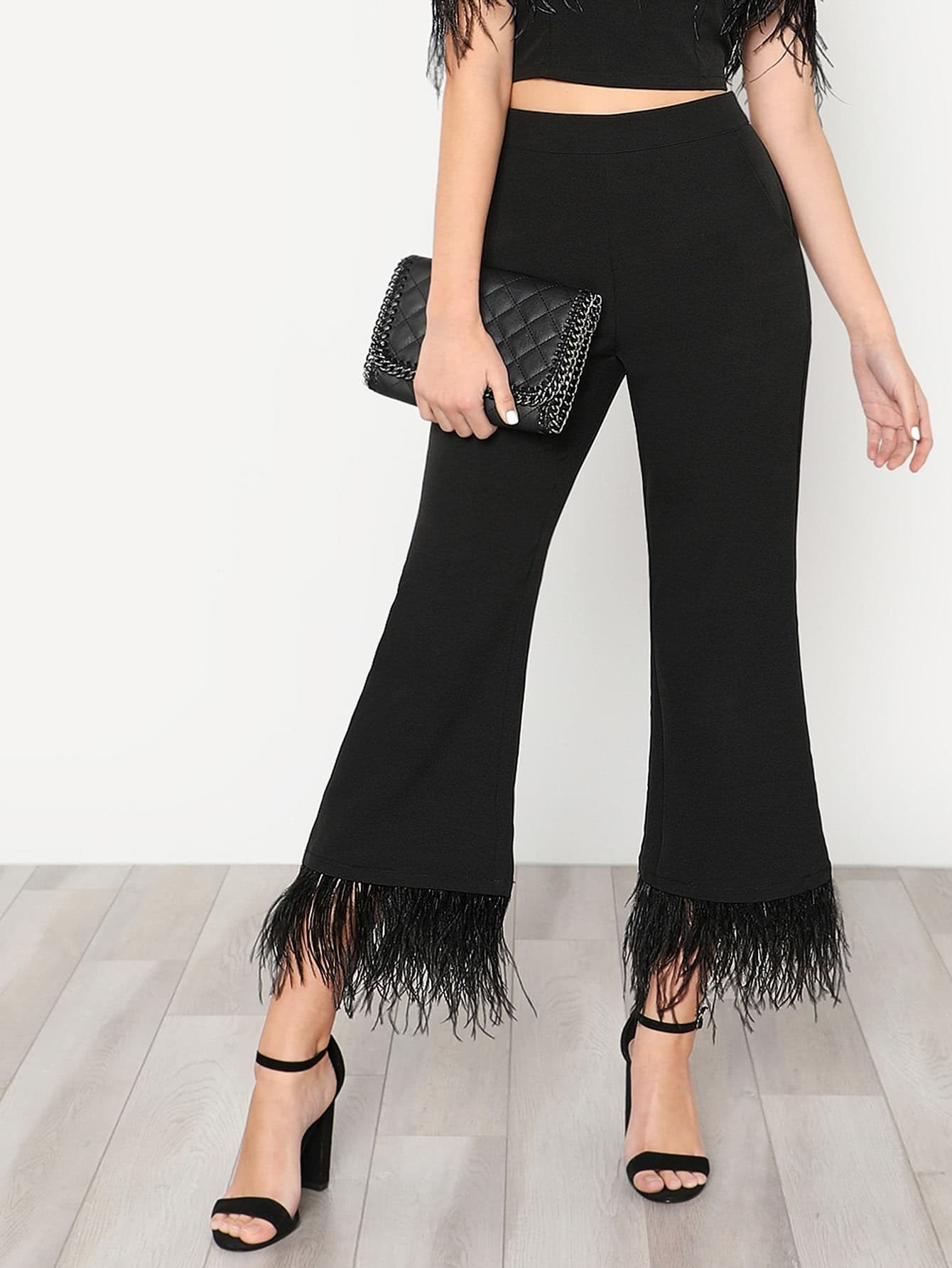 Faux Feather Trim Flare Pants faux ostrich feather fur nipple covers