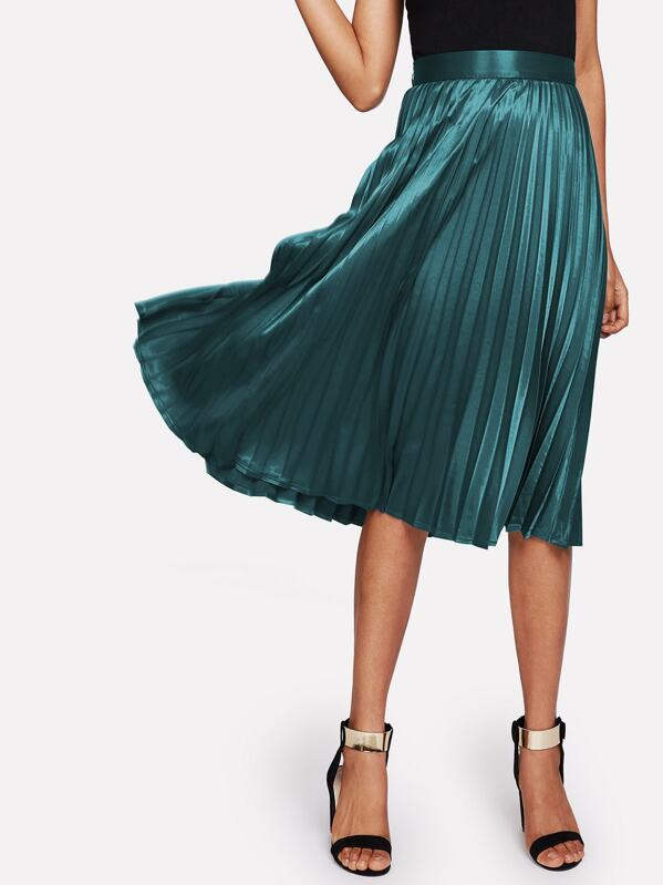 Zip Closure Pleated Satin Skirt, Ana