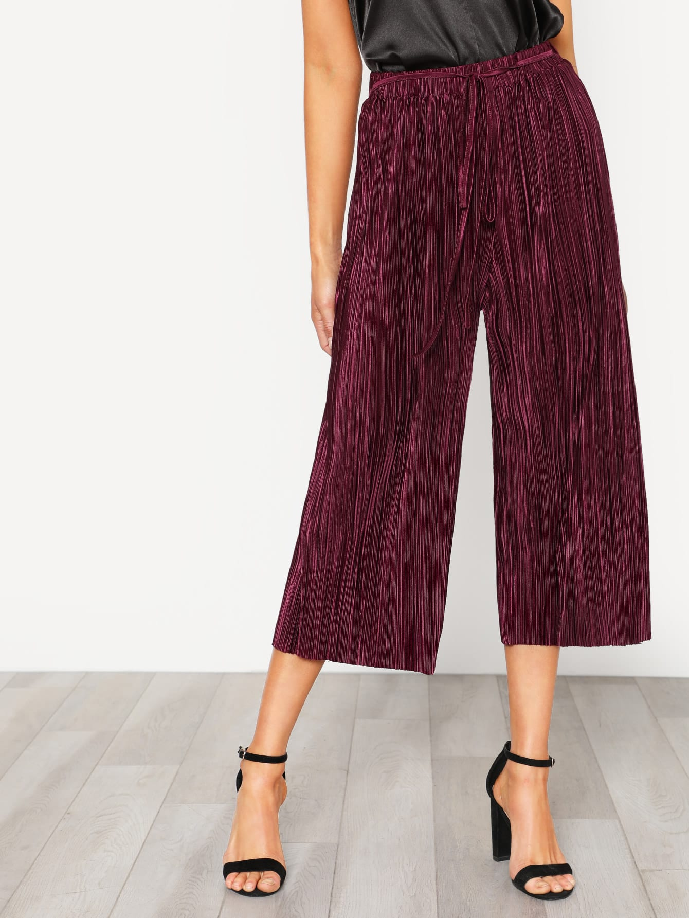 Self Tie Pleated Culotte Pants stylish women s solid color pleated culotte