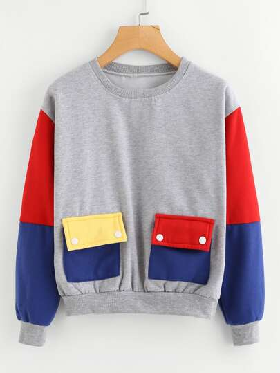 Color Block Dual Pocket Sweatshirt
