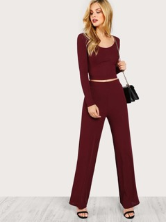 Fitted Crop Tee & Pants Co-Ord