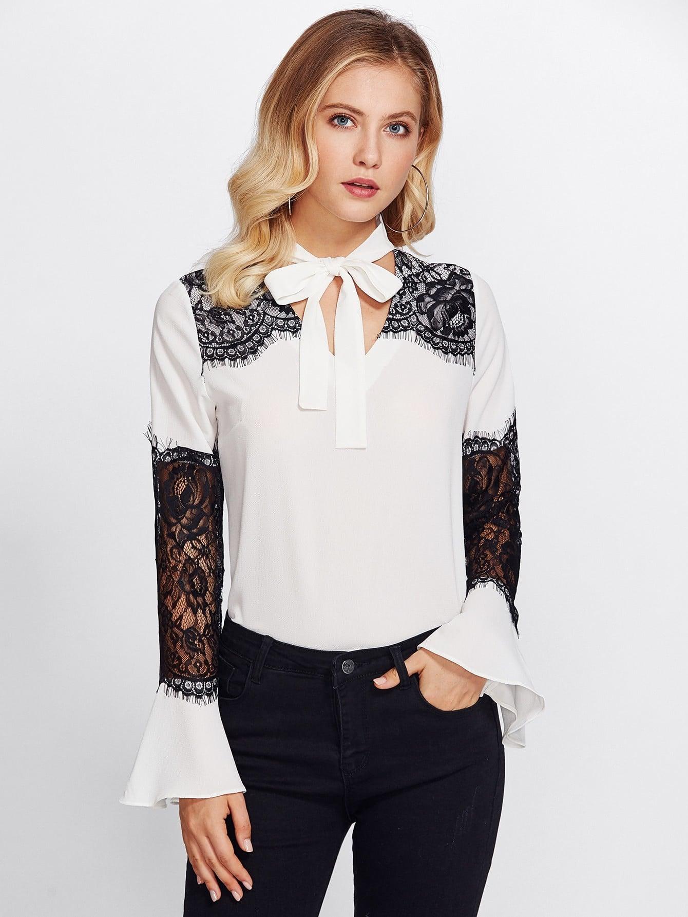 Lace Contrast Sleeve Tie Neck Blouse lace crochet contrast neck blouse