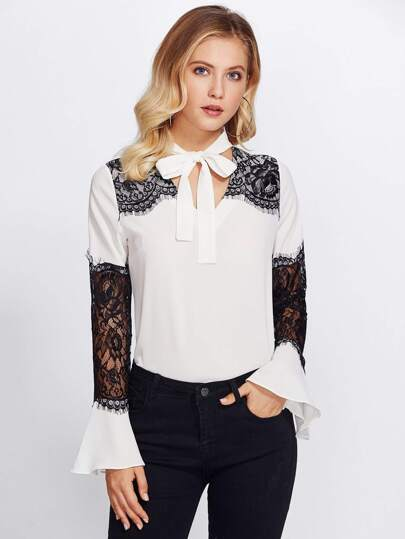 Lace Contrast Sleeve Tie Neck Blouse