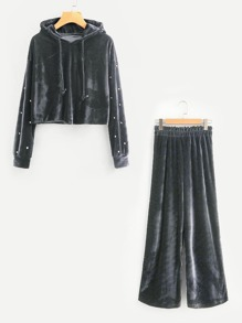 Pearl Beaded Velvet Hoodie With Pants