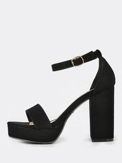 Faux Suede Ankle Strap Chunky Heels BLACK