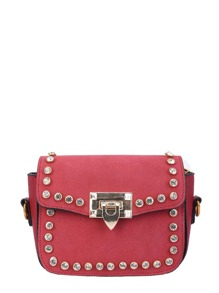 Studded Shoulder Bag With Double Detachable Strap