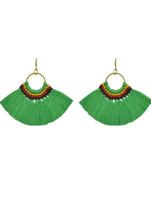 Green Boho Fan Shaped Earrings Ethnic Style Tassel Big Earrings green boho style flower decoration slippers