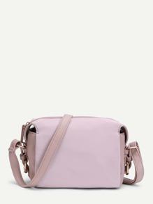 Zipper Detail Nylon Crossbody Bag