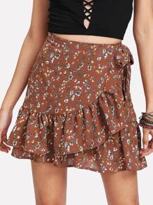 Tiered Ruffle Trim Wrap Skirt