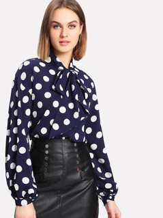 Bow Tied Neck Lantern Sleeve Polka Dot Blouse