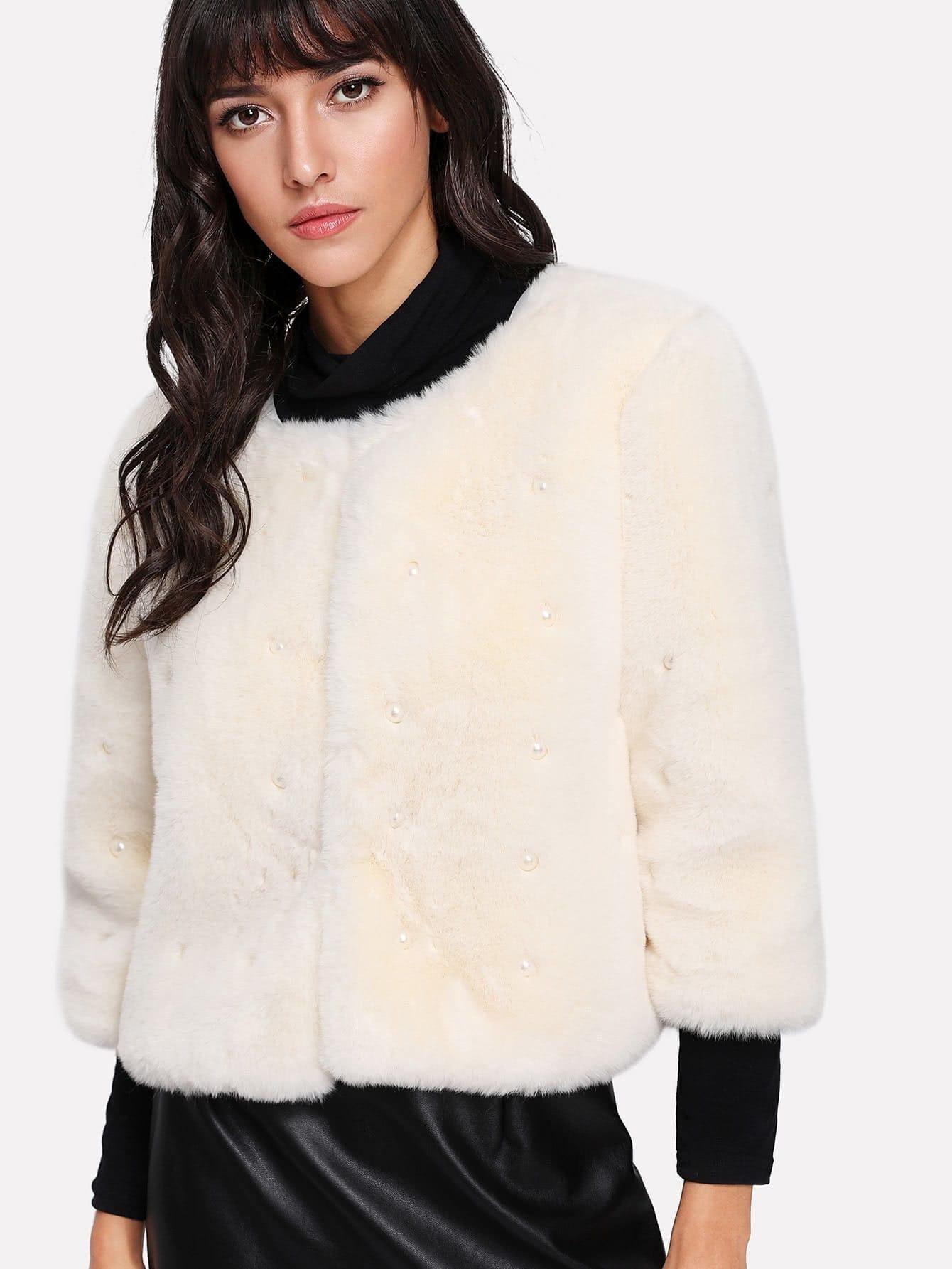 Pearl Beading Faux Fur Coat