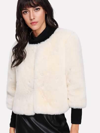 Pearl Beading Faux Fur Coat