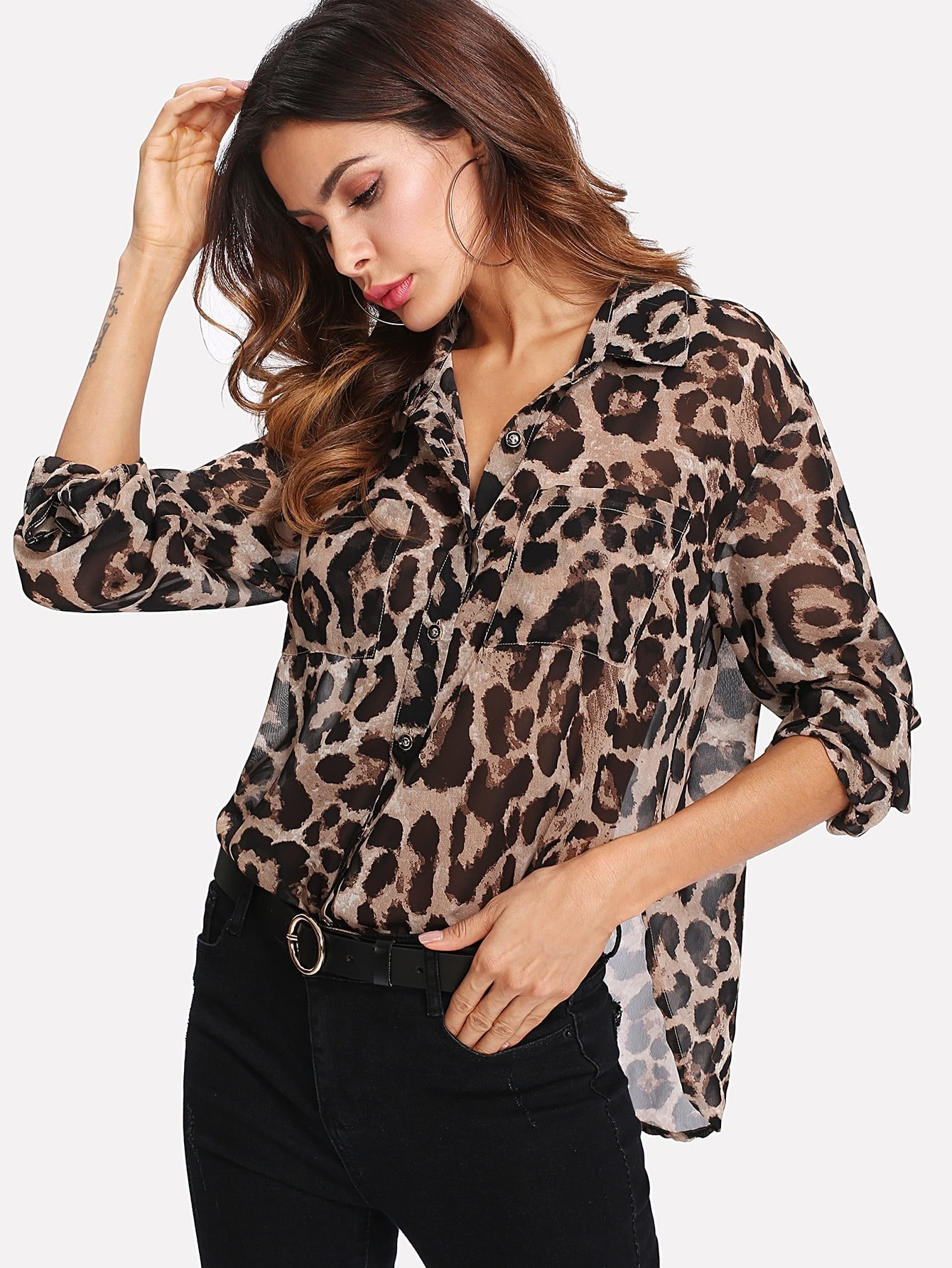 Pocket Patch Curved Hem Leopard Print Shirt pocket patched plaid curved hem shirt dress