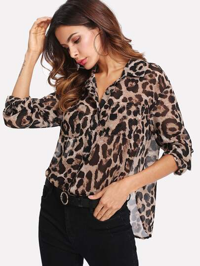 Pocket Patch Curved Hem Leopard Print Shirt