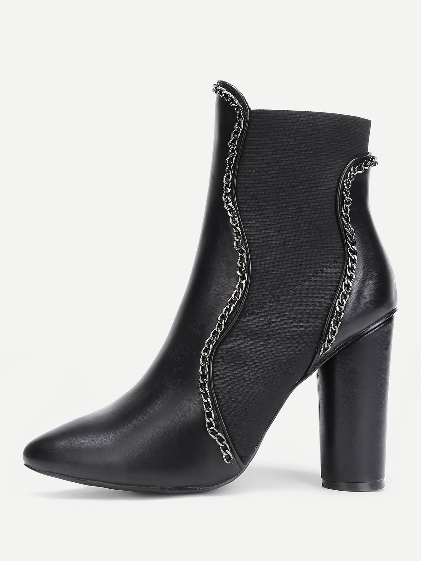 Фото Chain Design Block Heeled Ankle Boots